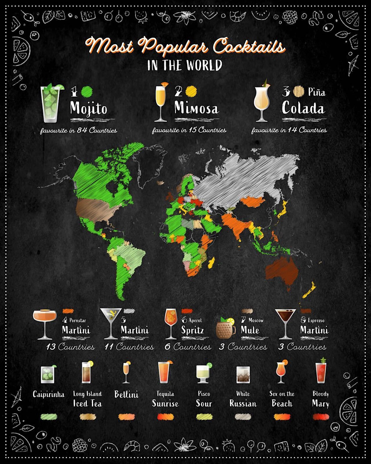 full size world map, most popular cocktails