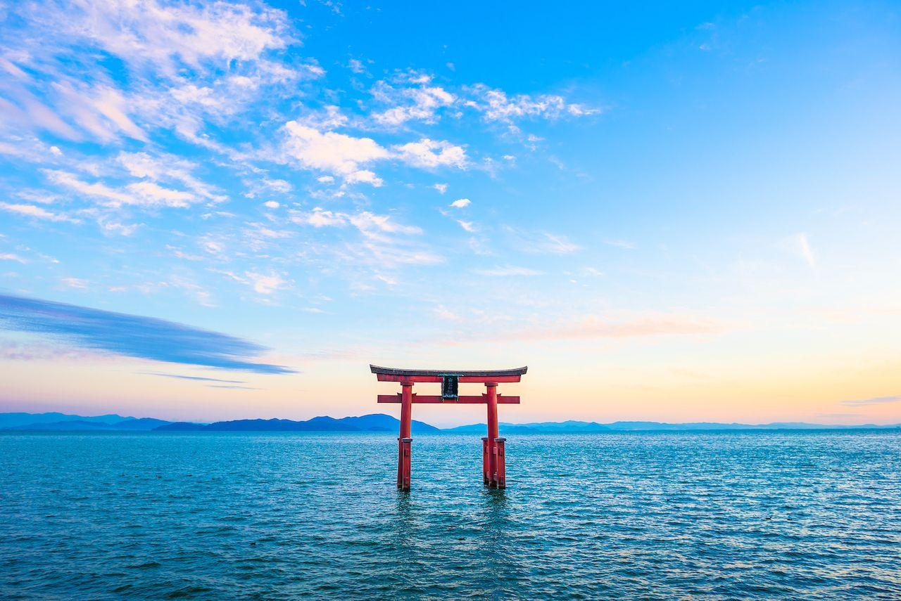 Torii,And,Lake,Biwa,,Shiga,Prefecture,In,Japan, Kansai