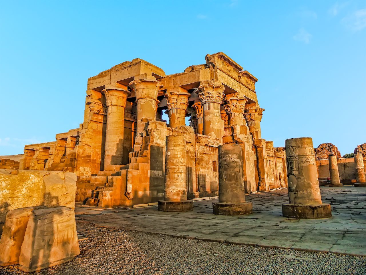 A panorama view of the Kom Ombo Temple near Aswan, Egypt in summer, Nile cruise