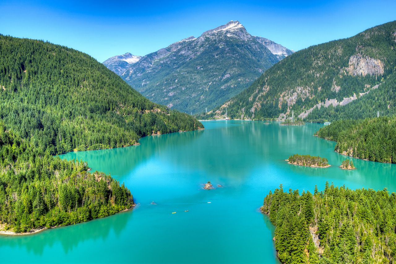 Turquoise water of Diablo Lake, North Cascades National Park.