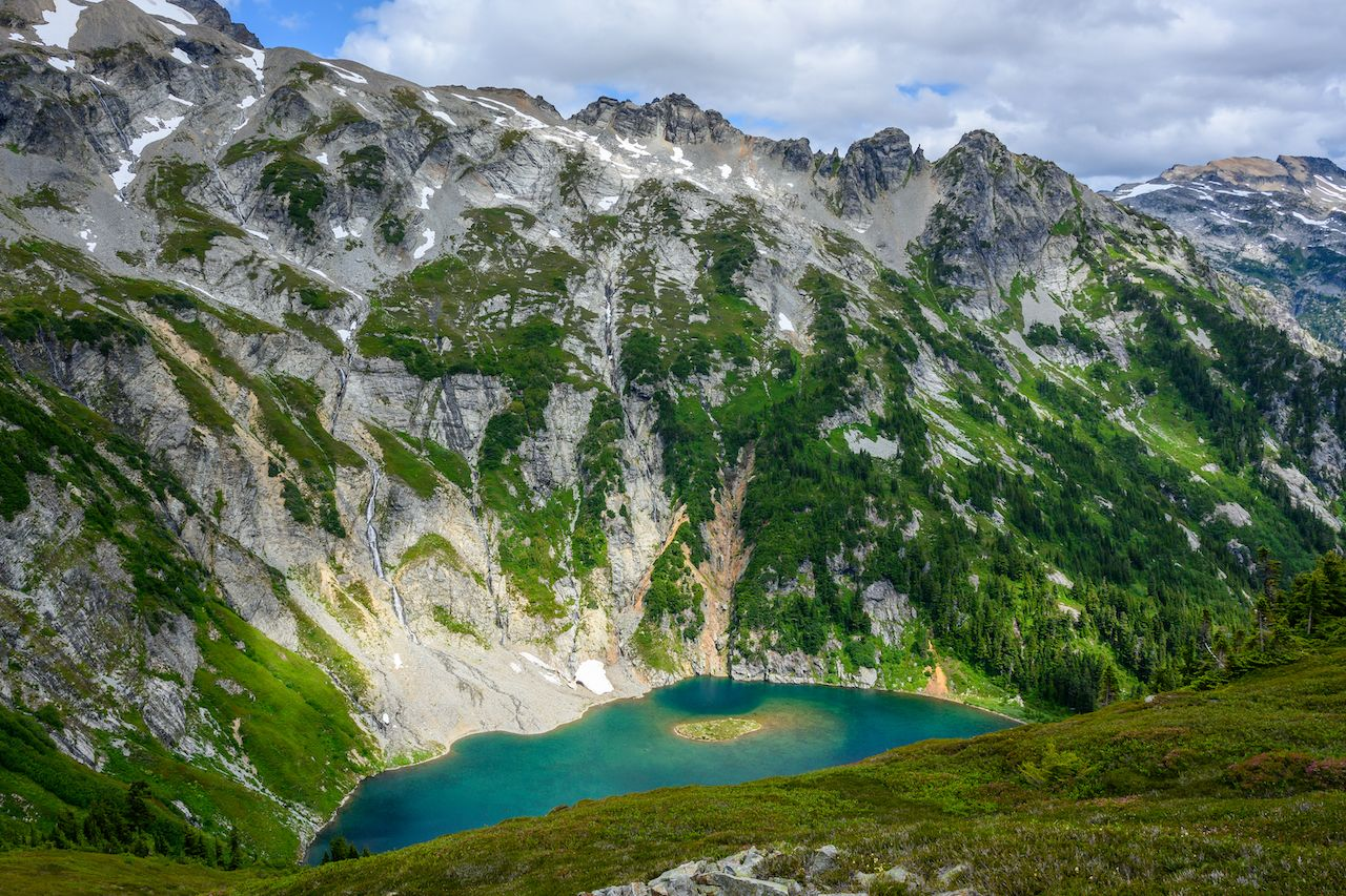 Looking Down Over Doubtful Lake in North Cascades wilderness, North Cascades National Park