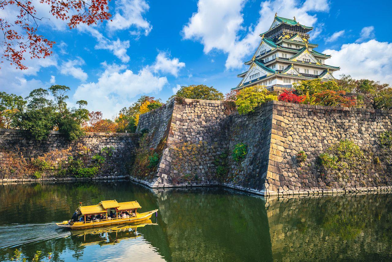 Osaka,Castle,,A,Tourist,Boat,In,The,Moat,,Japan, Kansai