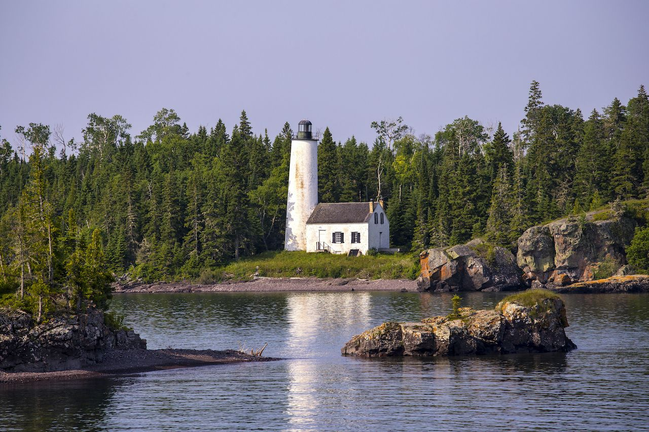 Rock Harbor Lighthouse, Isle Royale National Park, Michigan, USA, Scuba diving in Isle Royale