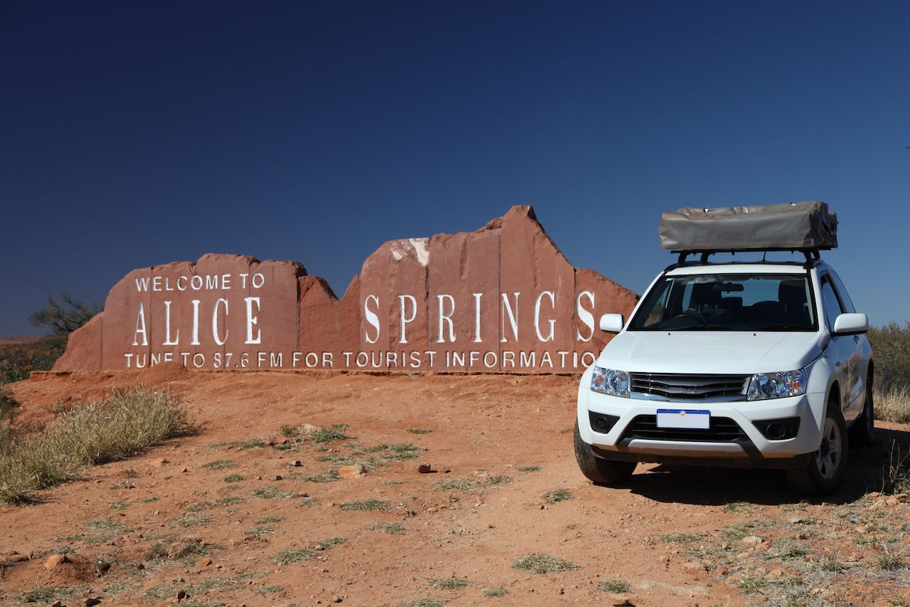 Alice Spring, Northern Territory - August 15, 2014: Welcome Sign, The Red Centre Way