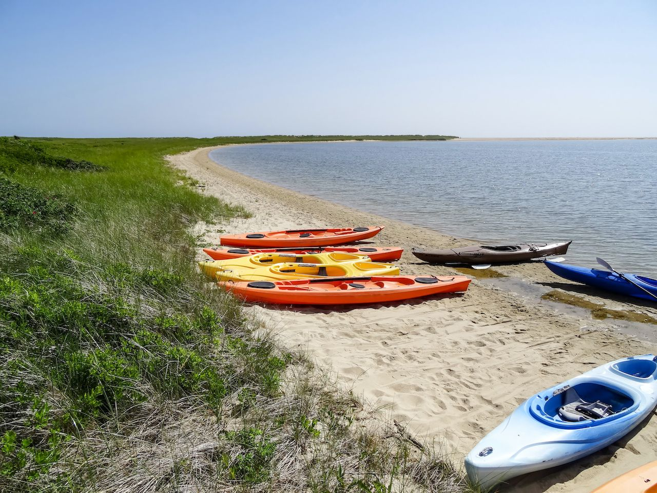 Colorful,Kayaks,On,The,Beach,At,The,Dunes,Of,The, Martha's Vineyard
