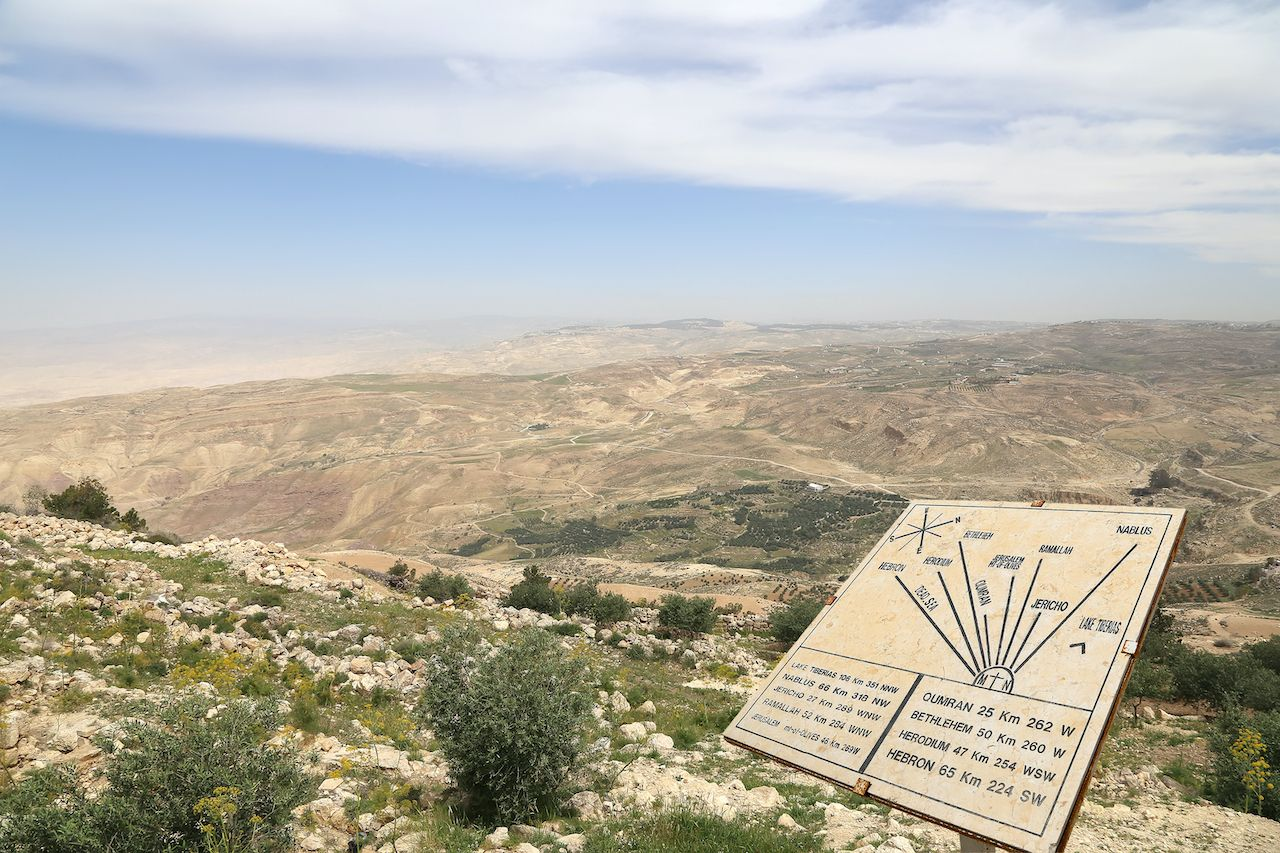 Desert,Mountain,Landscape,(aerial,View,From,Mount,Nebo),And,Plaque, Trip to Jordan