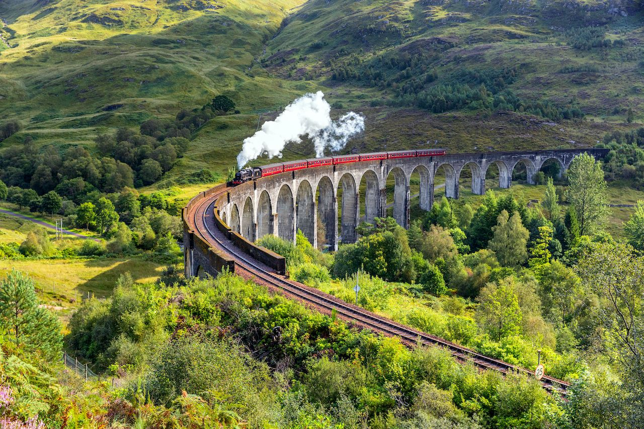 One of the world's great railway journeys running on the West Highland Line in Scotland between Fort William and Mallaig., Train journeys