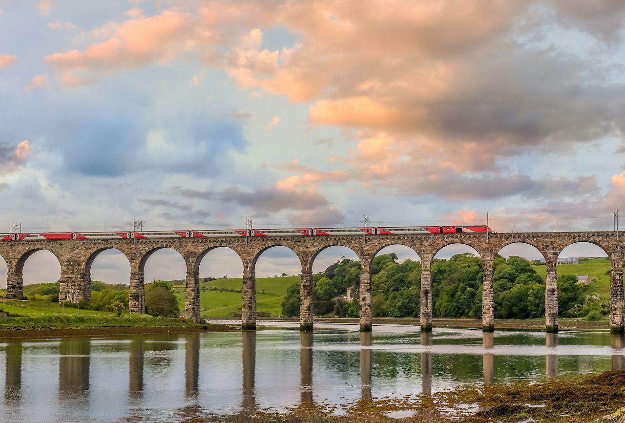 train crossing berwick upon tweed rail bridge, train journeys