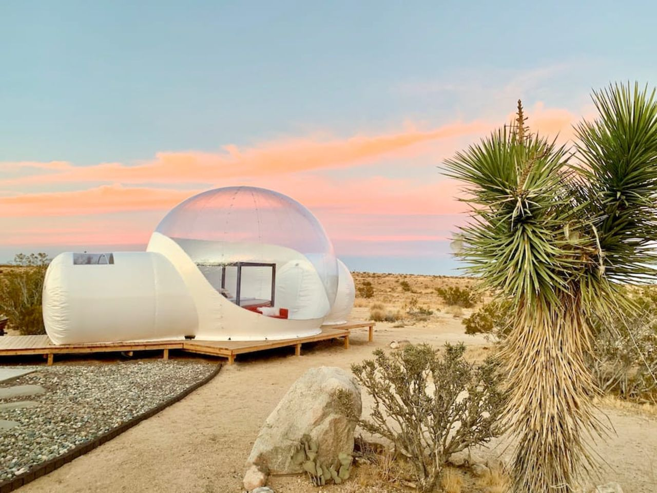 stargazing bubble tent and house combo, joshua tree airbnbs