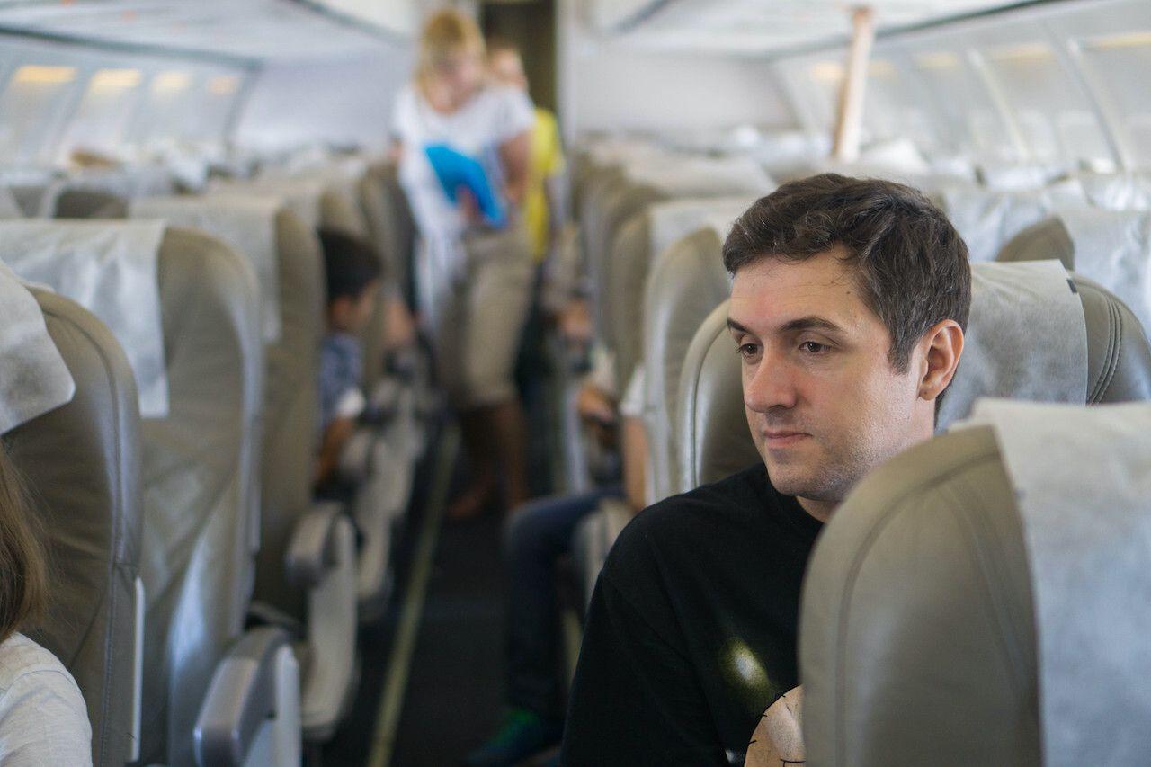 Man on board the plane