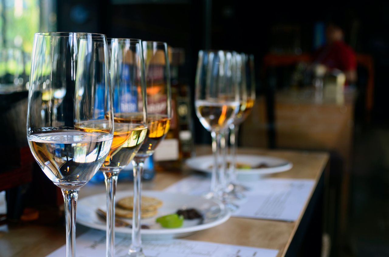 Tequila,Tasting,,Close,Up,Of,Thequila,Tasting,Glass,,Reposado,,Blanco, cristalino tequila