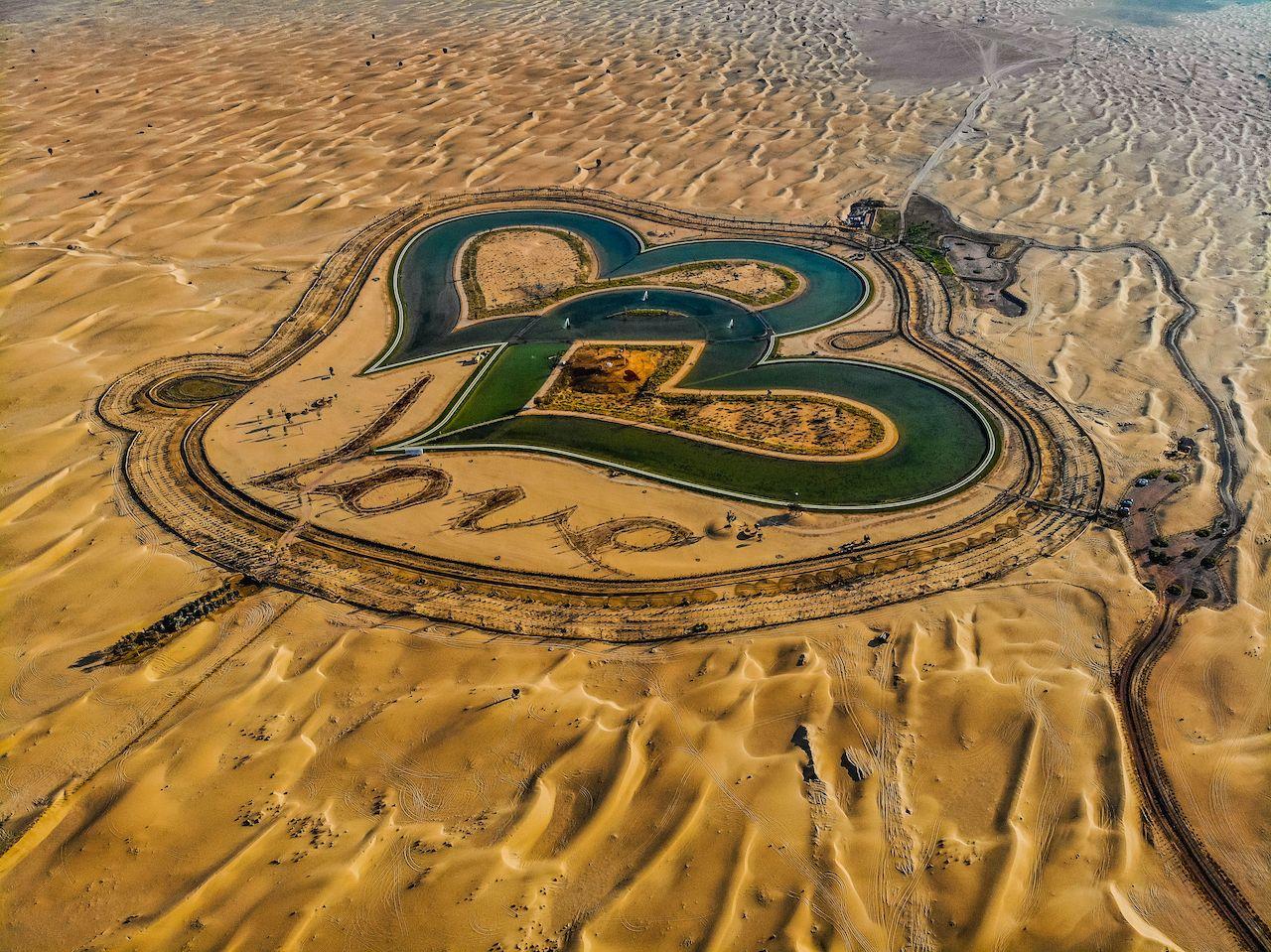 Aerial,View,Of,Entire,Love,Lake,Dubai,At,Al,Qudra, week in Dubai