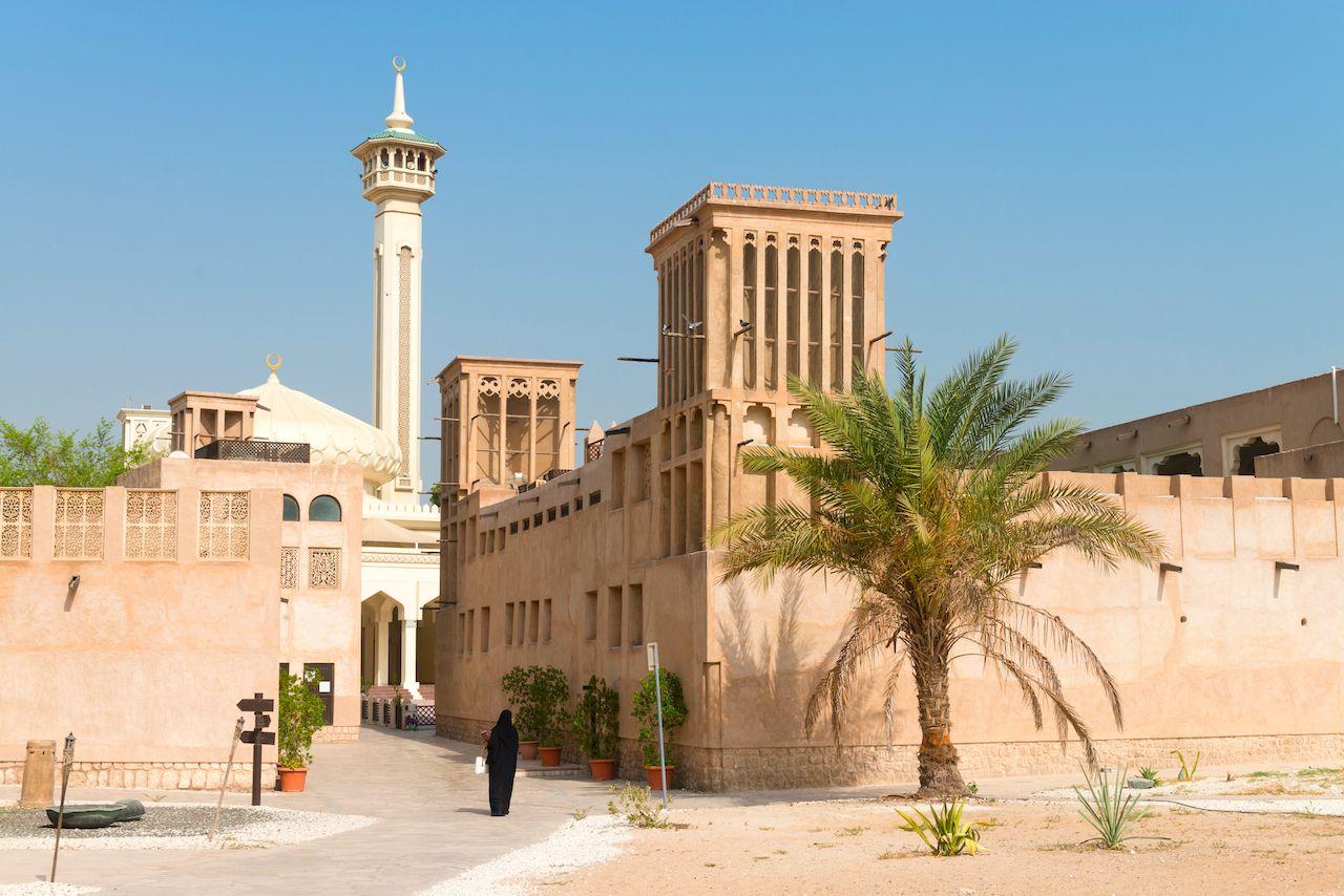Woman,In,Traditional,Muslim,Black,Dress,In,Old,Arabic,City,  week in Dubai