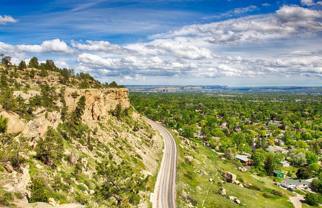 Zimmerman trail as it winds up the rim rocks on the West end of Billings, Montana., Bozeman Billings Montana