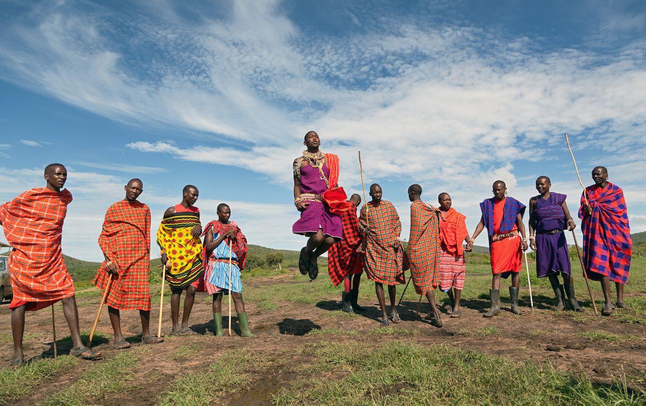 Masai,Mara,,Kenya,-,December,2:,Unidentified,Masai,Warriors,Dance