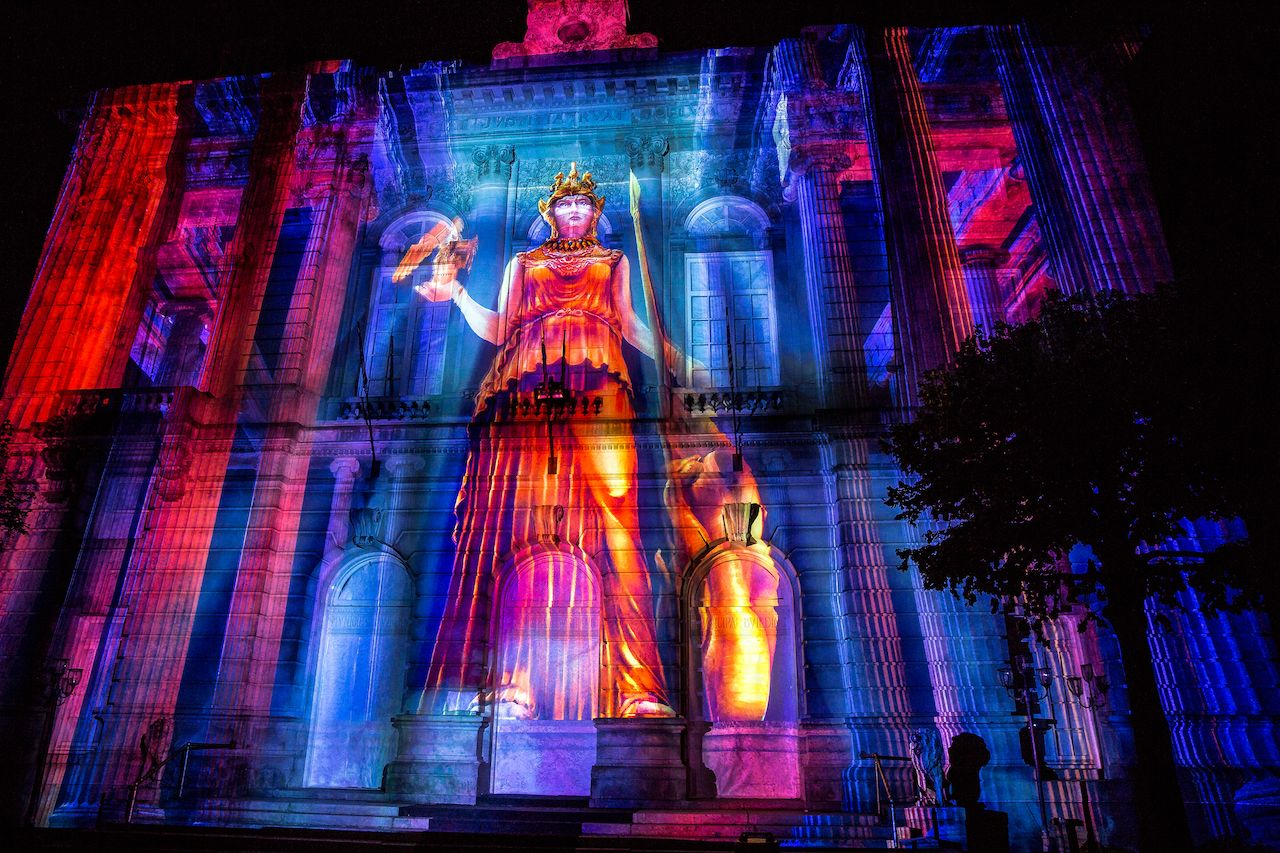 Projection on building during the LUMA light festival in upstate New York