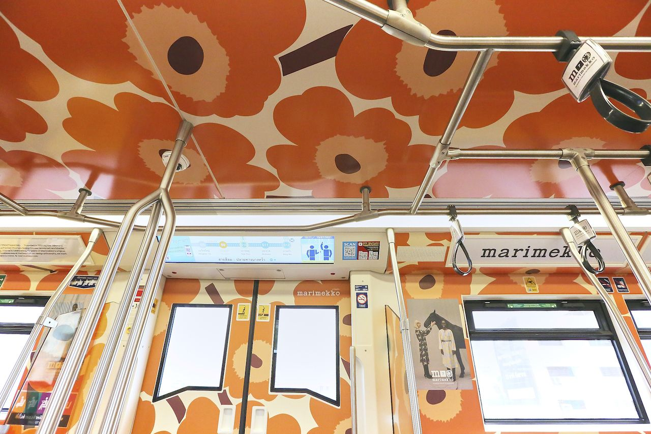 Bangkok Skytrain wrapped in floral pattern inside