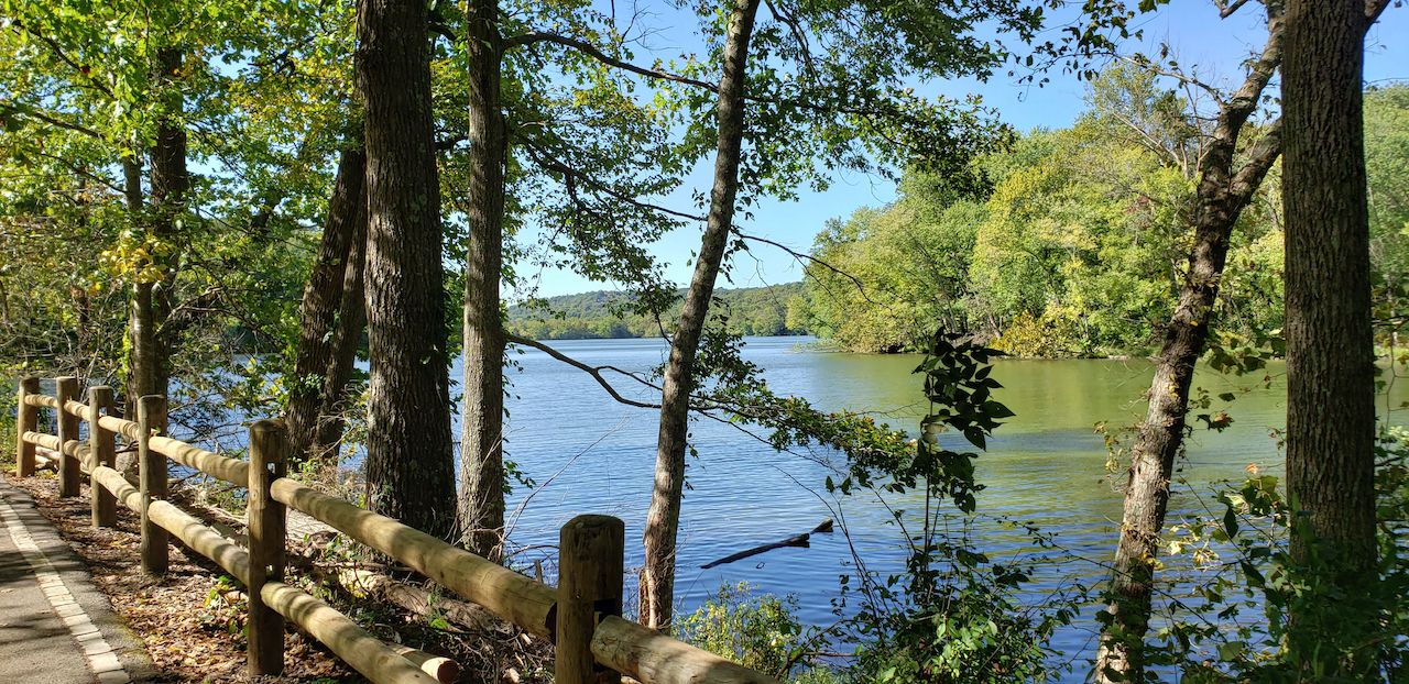 A view of the lake from a wooden walking path at Radnor Lake State Park near Nashville, Tennessee