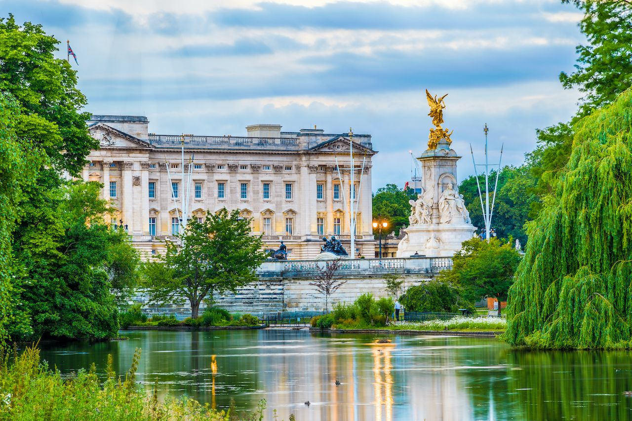 Buckingham Palace seen from St. James Park in London, royal family