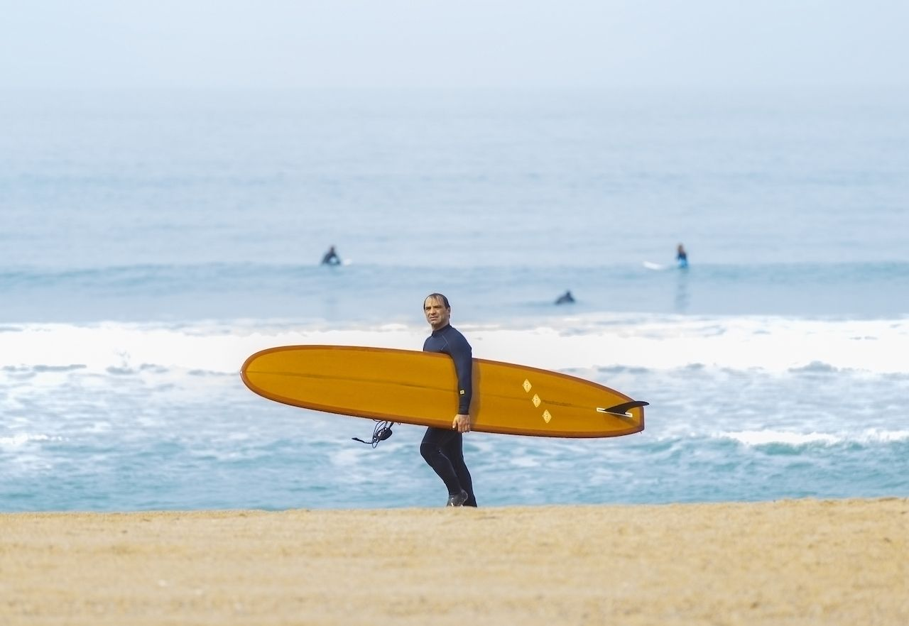 Biarritz,france-march,11,2017:,Adult,Surfer,Surfing,On,Biarritz,Beach,On,March,Surf and ski on the same day