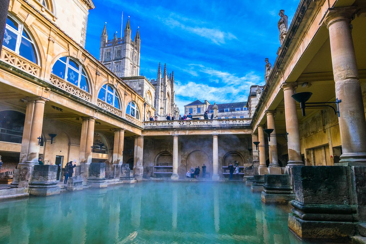 Steaming Roman Baths in winter, Bath, England
