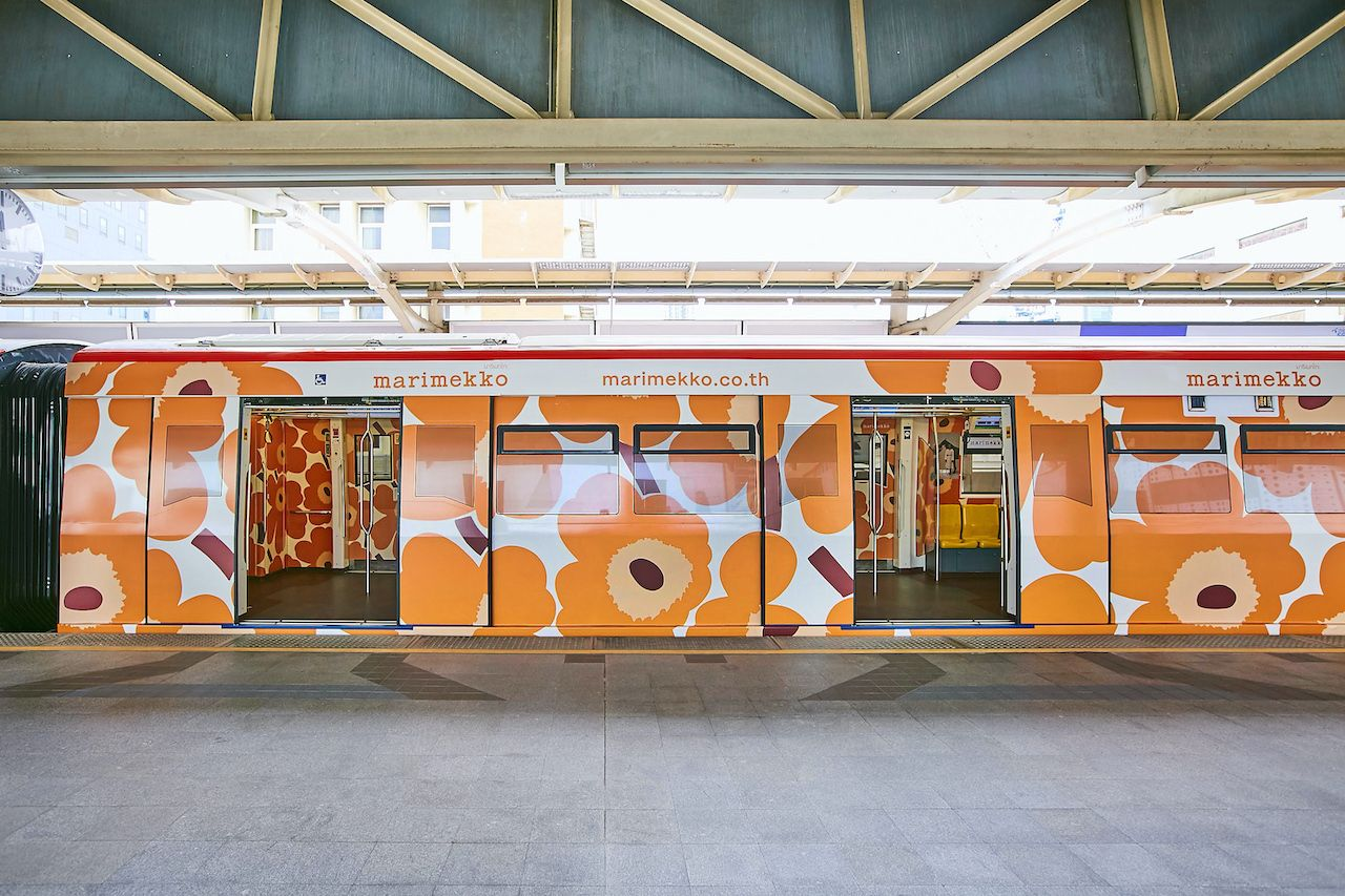 Bangkok Skytrain wrapped in floral pattern outside