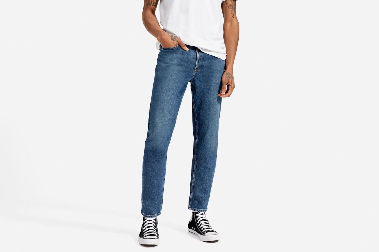 comfortable travel clothes Men Everlane organic jeans
