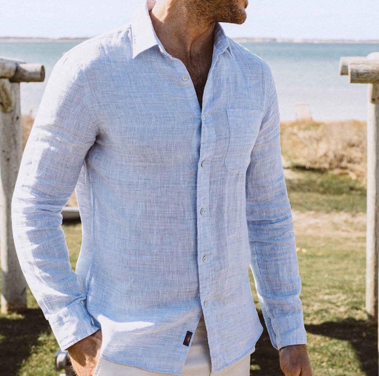 comfortable travel clothes Men Faherty linen shirt