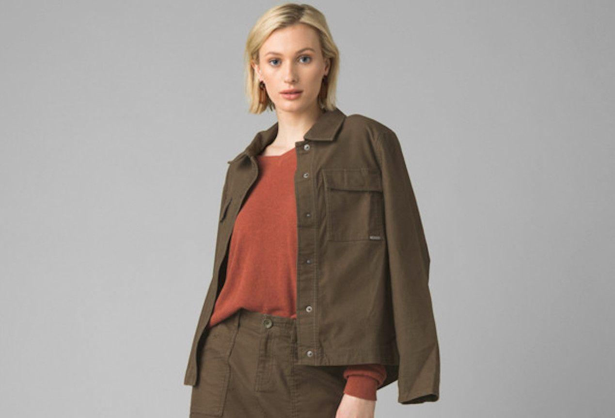 comfortable travel clothes Women prAna Nikit jacket