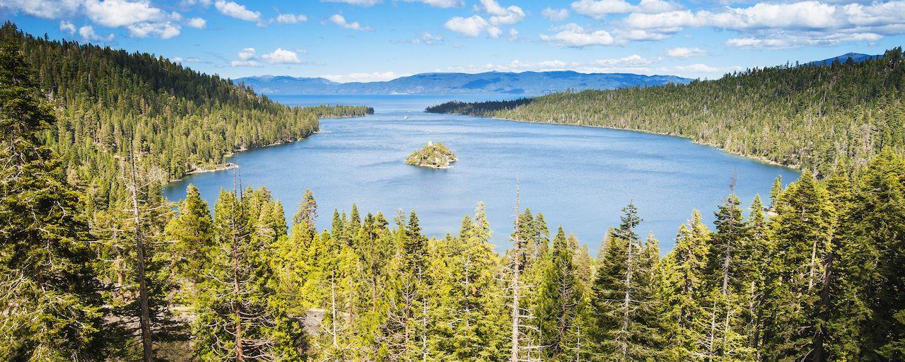 Summertime aerial view of Emerald Bay, Lake Tahoe, California