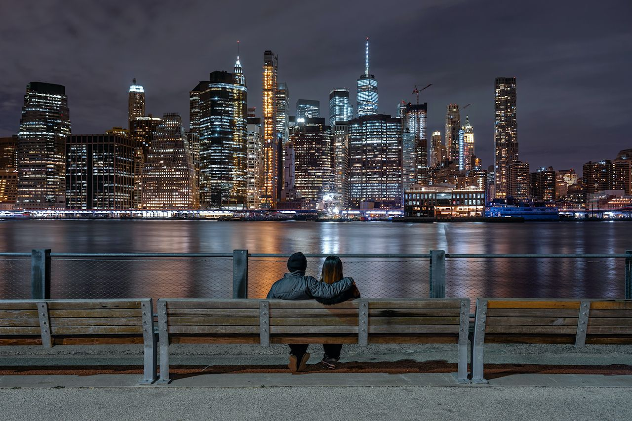 Scene,Of,Back,Side,Couple,Sitting,And,Looking,New,York