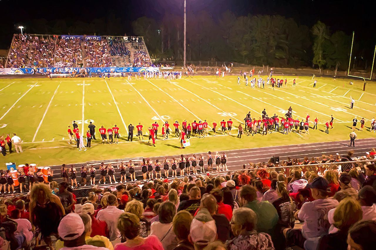 Illustrative image of high school Saturday night football game, route 66