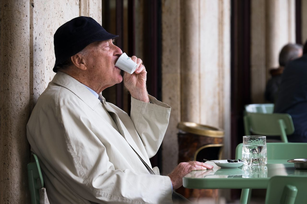 Ascoli,Picena,,Italy,-,October,11,2015:,Aged,Lonely,Man