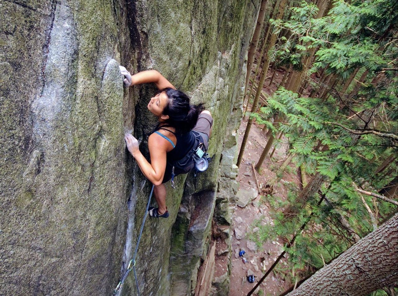 Lenise Lewis on Lubo (5.11a). Sully's Hangout, North Vancouver,  British Columbia climbing
