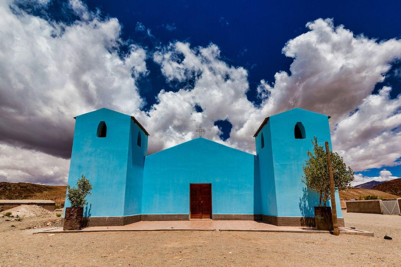 Blue,Church,In,San,Antonio,De,Los,Cobres,,Salta,,Argentina