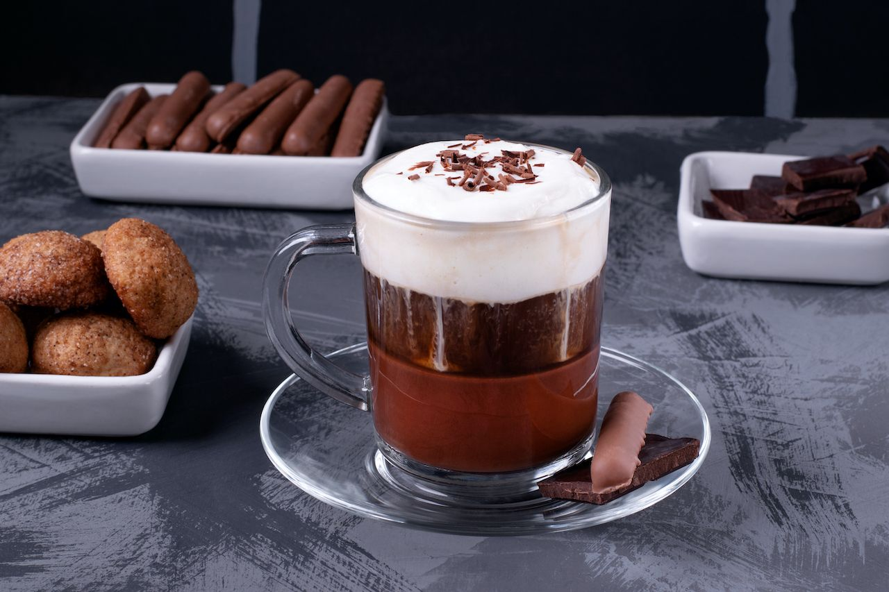 Bicerin,,Layered,Italian,Coffee,Drink,With,Chocolate,And,Whipped,Cream