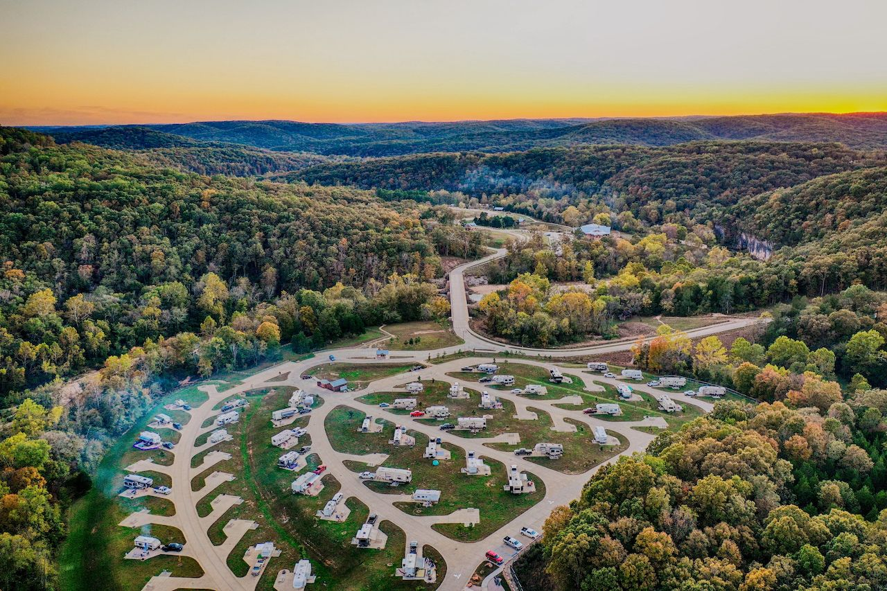 Aerial,View,Of,Rv,Campground,Featuring,Beautiful,Sunset,In,Hdr
