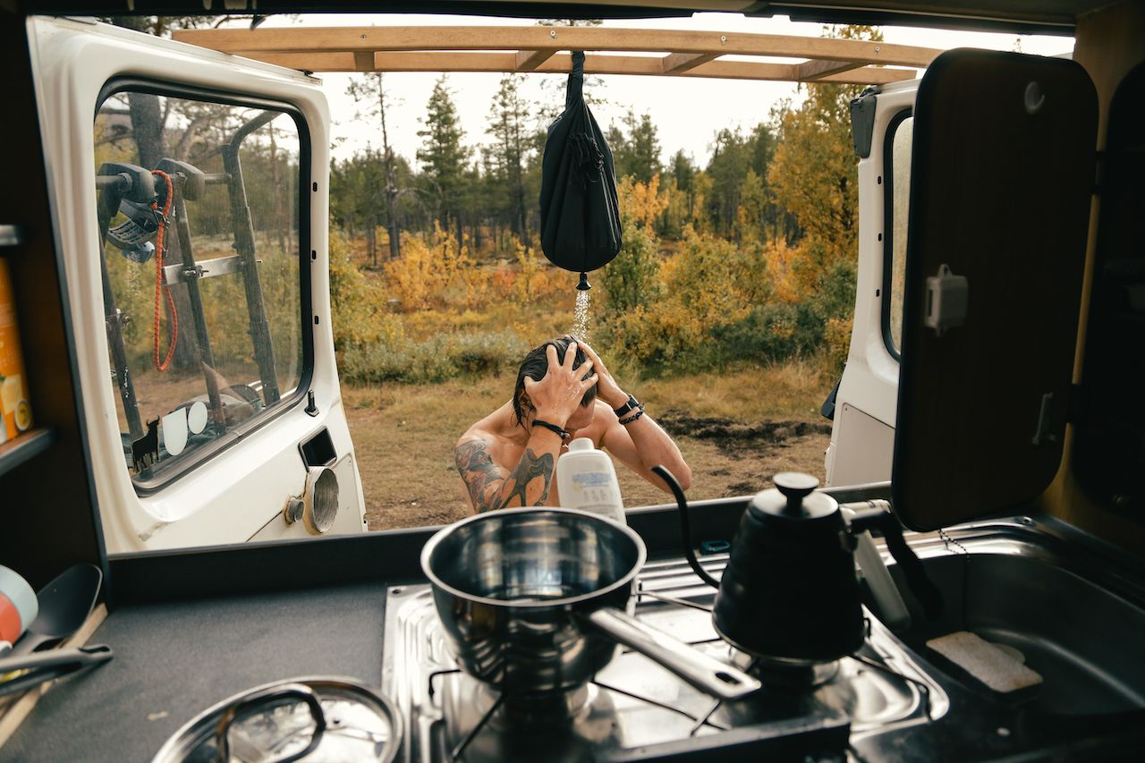 View,From,Inside,Camper,Van,On,Young,Hipster,Man,Take