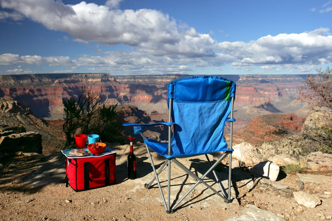 Folding,Chair,And,Cooler,On,The,Edge,Of,Grand,Canyon