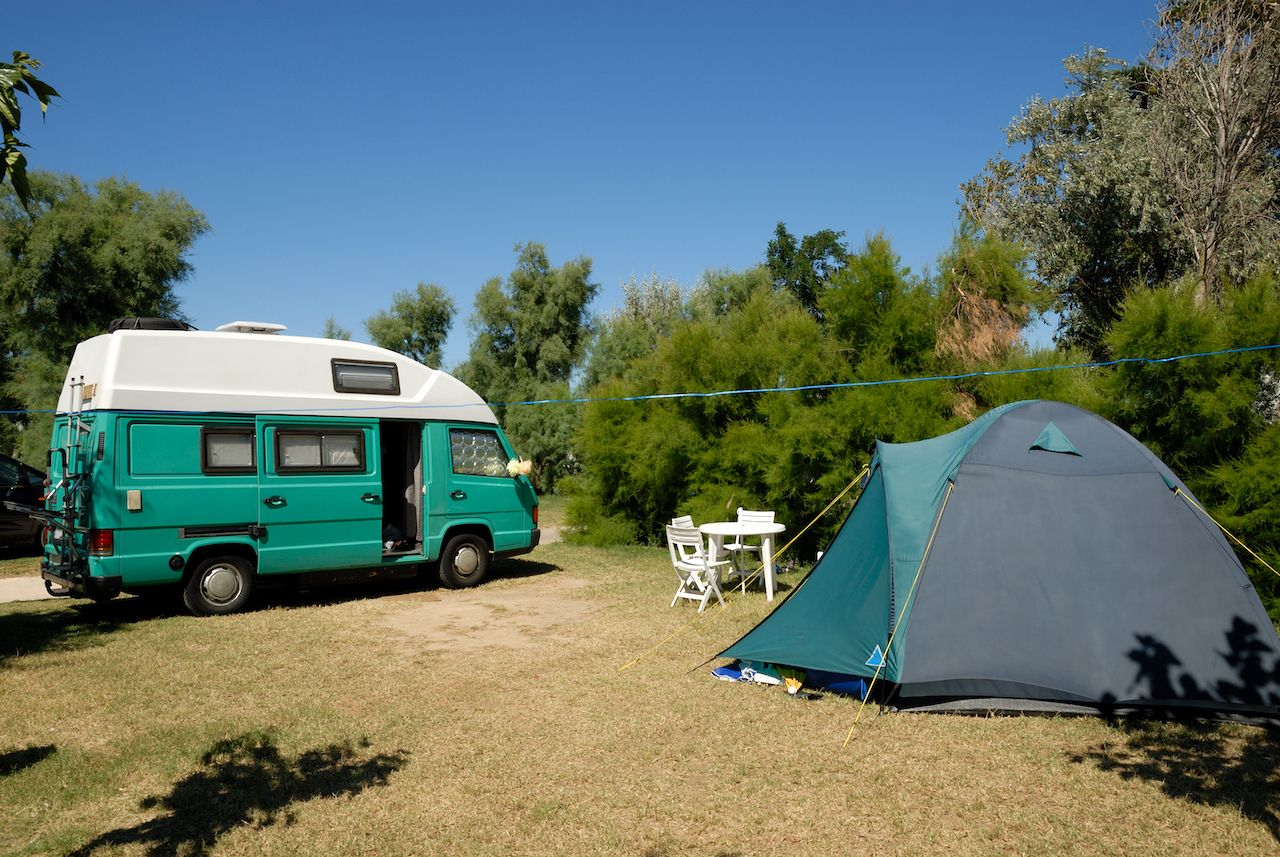 Small,European,Motorhome,Parked,At,Campsite,In,France
