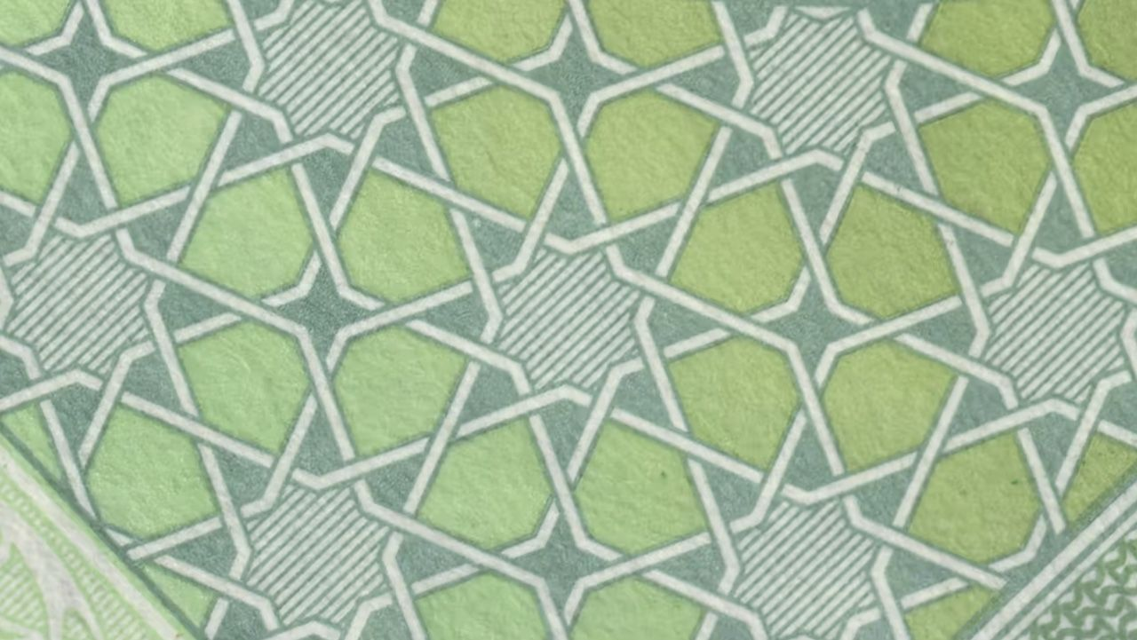 geometric pattern appearing on a banknote