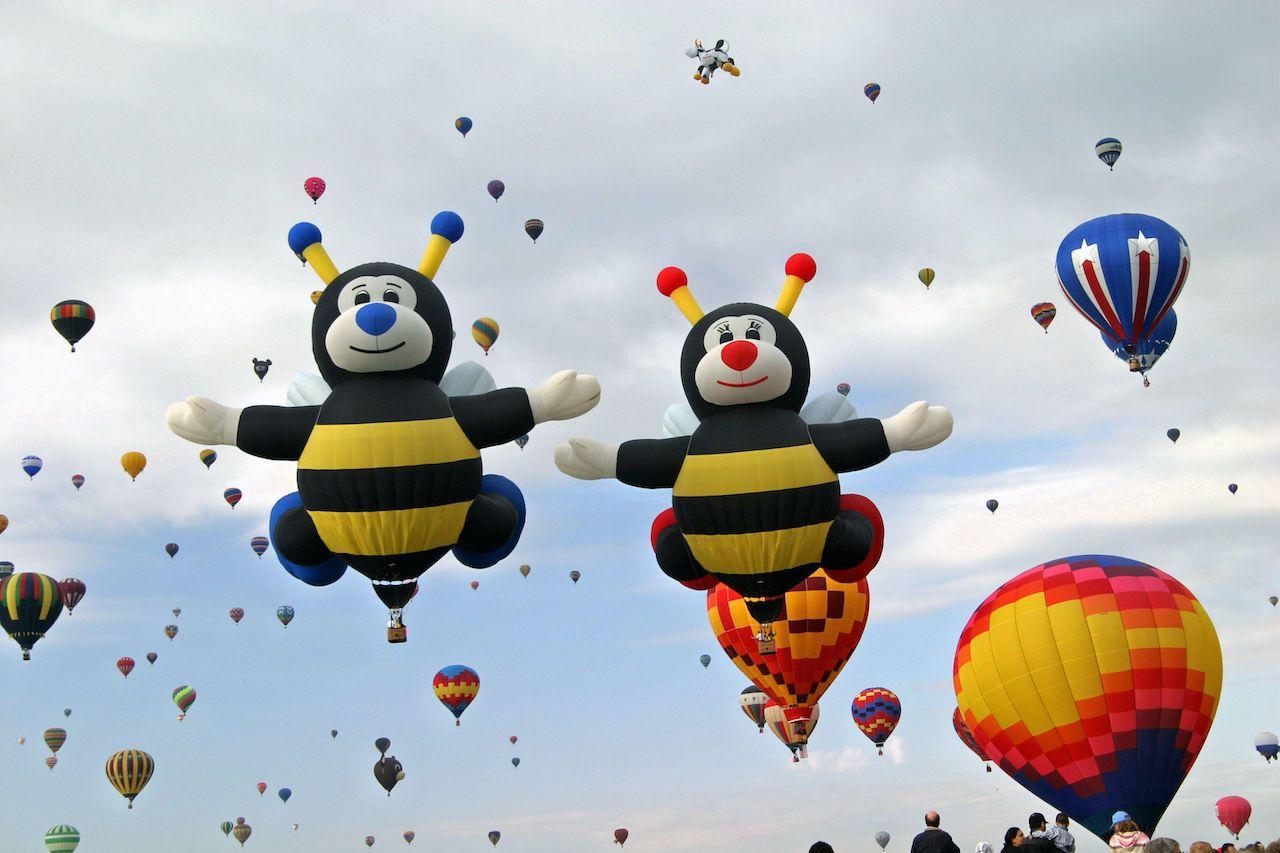 Bee-shaped balloons at the International Albuquerque Balloon Fiesta