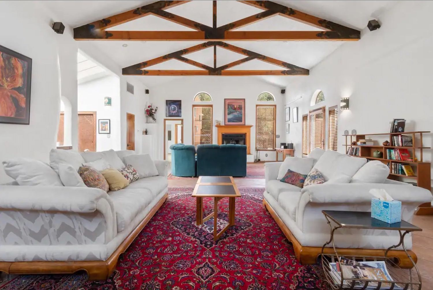 Interior of traditional adobe home available on Airbnb and close to the Albuquerque International Balloon Fiesta