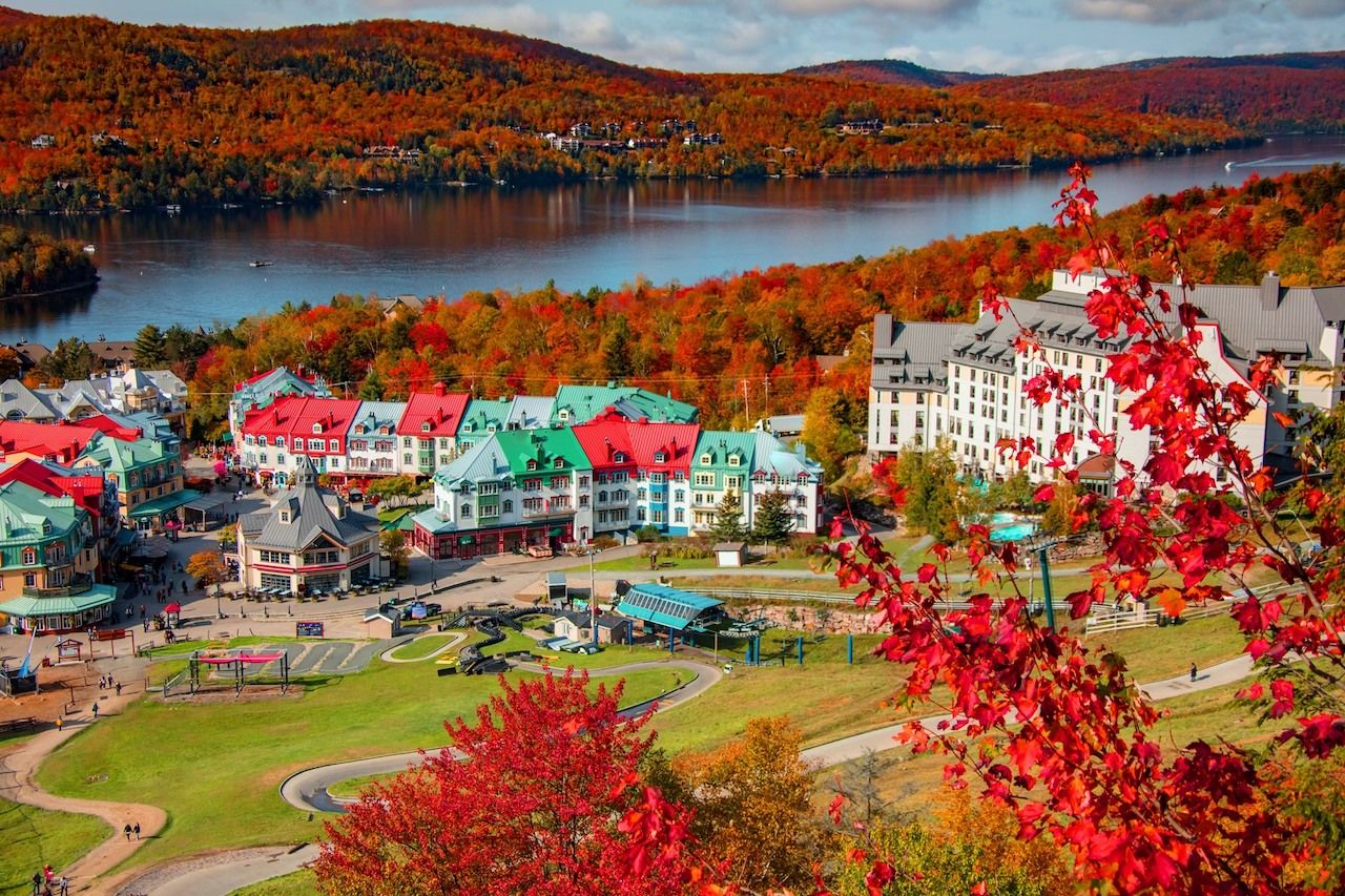 Fairmont Tremblant Hotel in Quebec during the fall