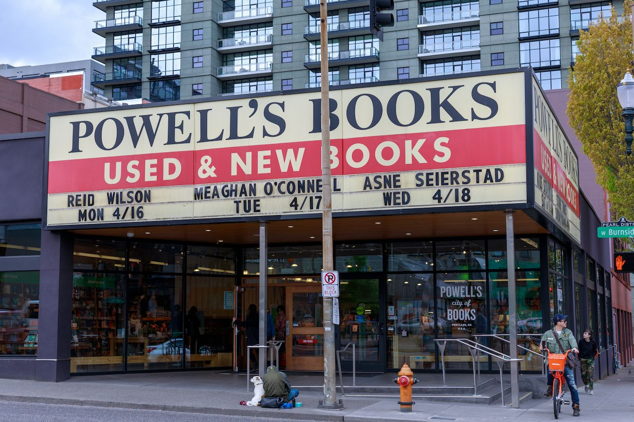 facade of Powell's Books, an independent bookstore in Portland, Oregon
