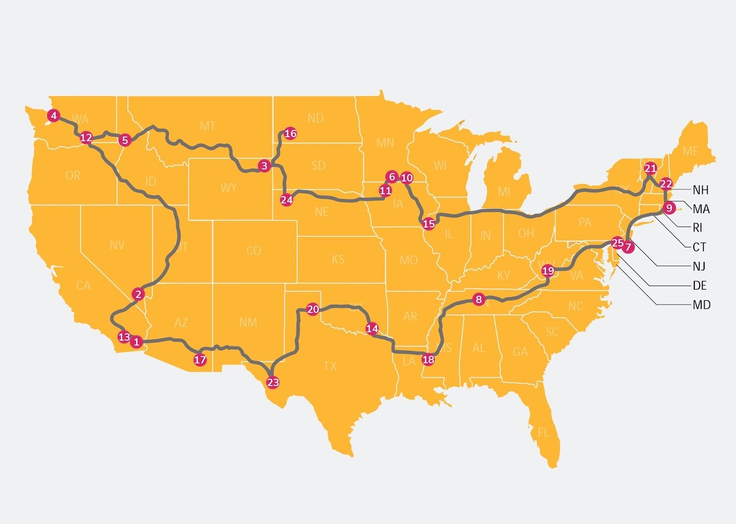 map of the best road trip itinerary to see the most popular roadside attractions in the US