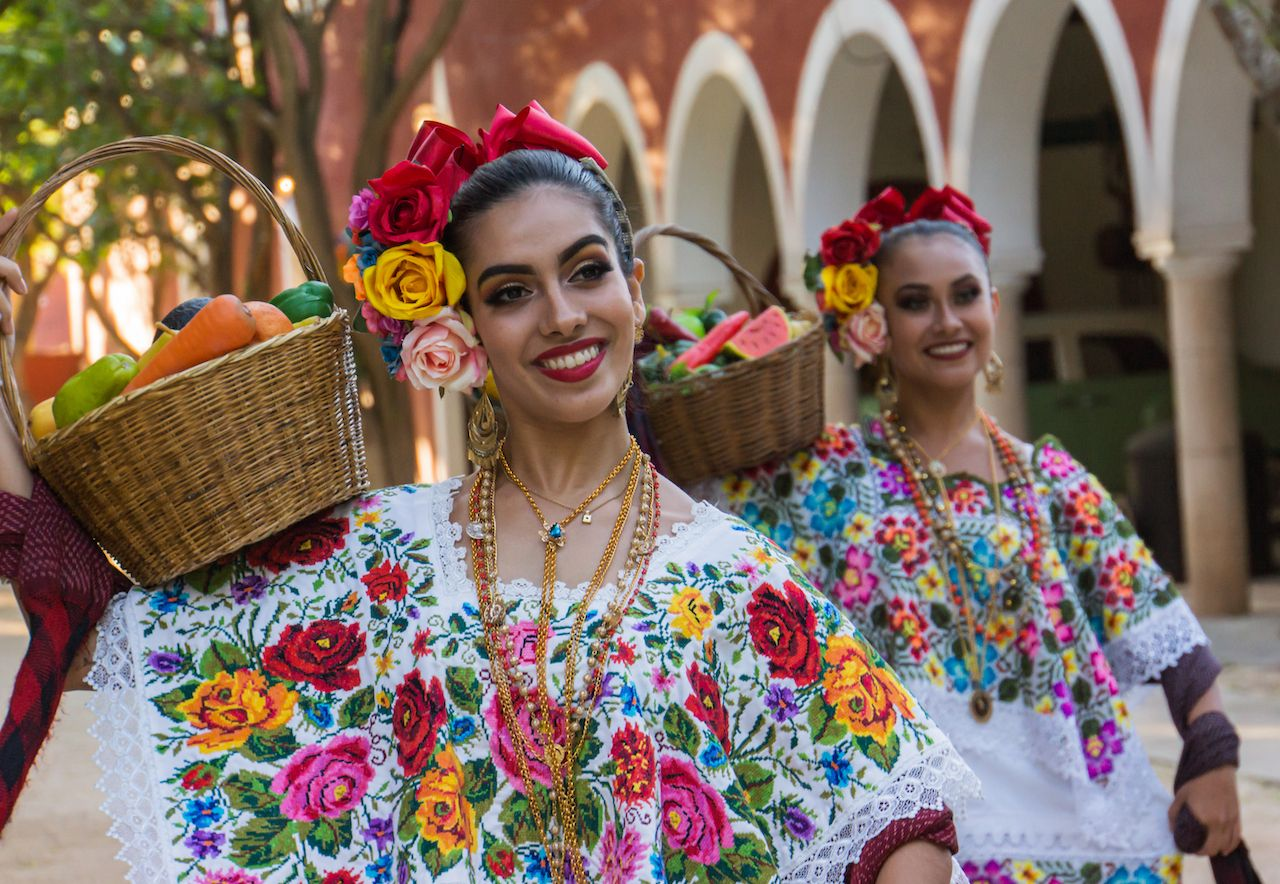 Traditional Hipil blouse worn by Mexican folk dancers