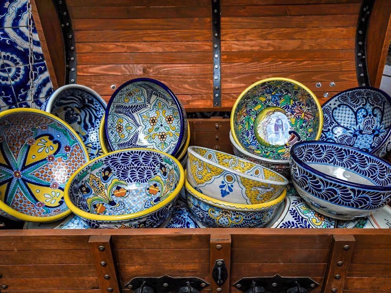 Talavera pottery made by Mexican artisans