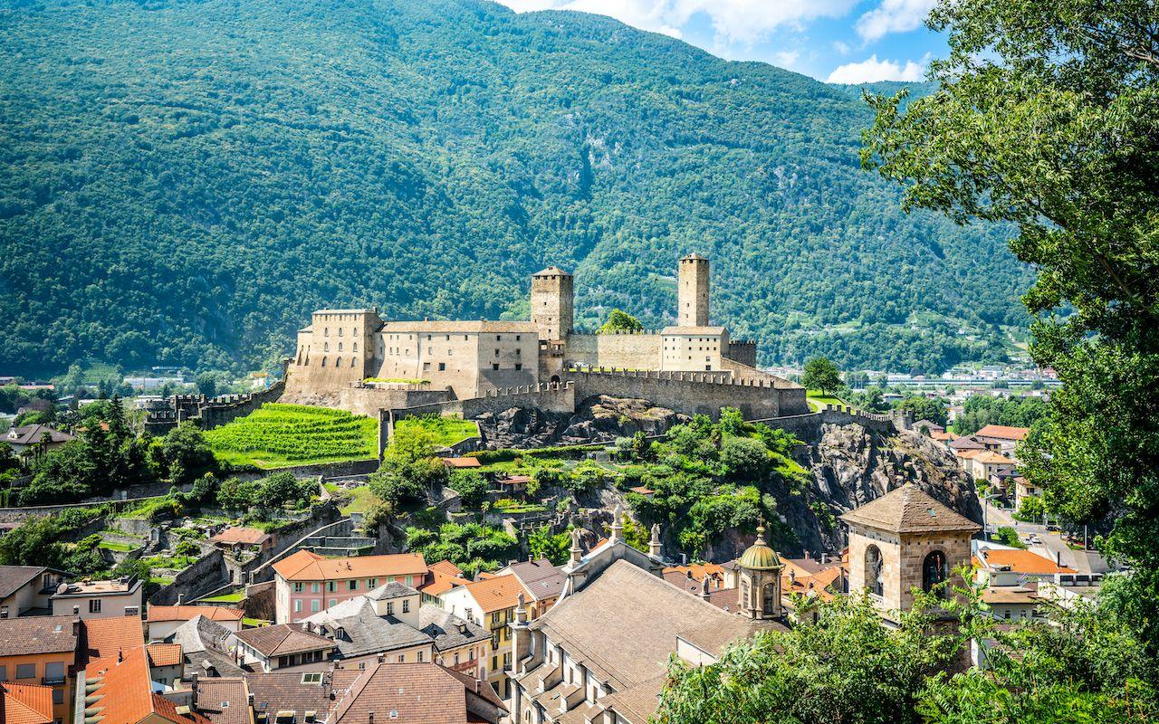 UNESCO-listed Three Castles of Bellinzona in Switzerland