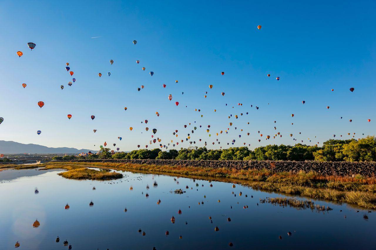 Balloon flying in the morning at the Albuquerque International Balloon Fiesta